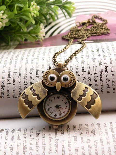 Retro copper owl eyes wings can open pocket watch necklace pendant jewelry vintage style. $5.85, via Etsy.