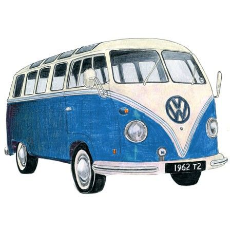 BLUE VOLKSWAGEN CAMPER DRAWING - Limited Edition Print