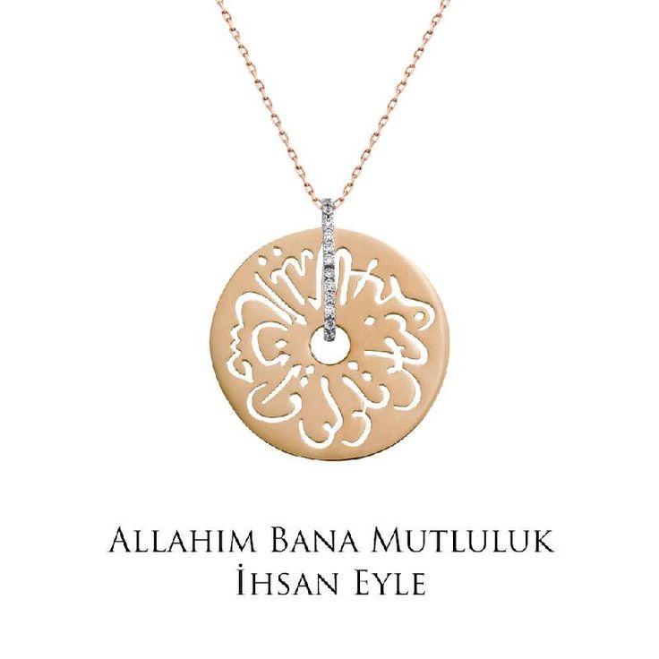 Ramazan ayında tüm dualarımız sevdiklerimiz için... Altın Seb'a Kolye - Allah'ım bana mutluluk ihsan eyle!