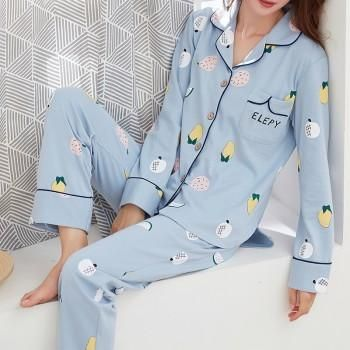 Fresh Fruits Printed Lapel Pajamas Set in Blue for Women PJs nightwear, warm and cosy #sellingfast #BlackFridaySale affiliate link