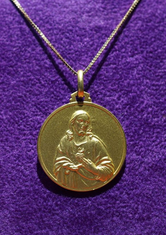 Grand Medal Sacred Heart of Jesus' gold 18 kt diameter 2.5 cm Weight gr. 10 -