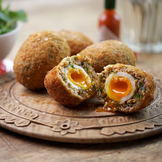 The Devon Egg.....A deliciously runny egg, wrapped in fresh salmon and crab, rolled in breadcrumbs and deep-fried until golden......yum!