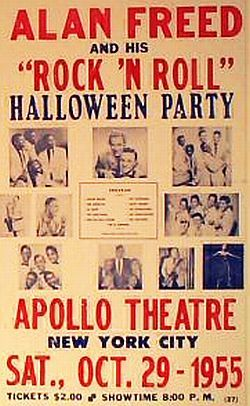 October 1955 poster for an Alan Freed show at the Apollo Theater in New York City.