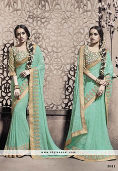Stunning Sea Green Embroidery Work Party Wear Saree