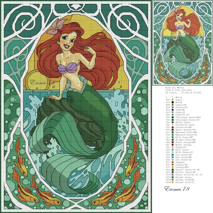 Borduurpatroon: Disney Prinsesjes *Cross Stitch Pattern Princesses ~Ariël~