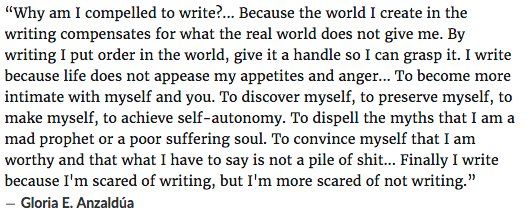 """""""A happy thing in the world: Gloria Anzaldúa is today's Google Doodle. Chicana feminist theory ftw. Here's a quote of hers that I love:"""""""