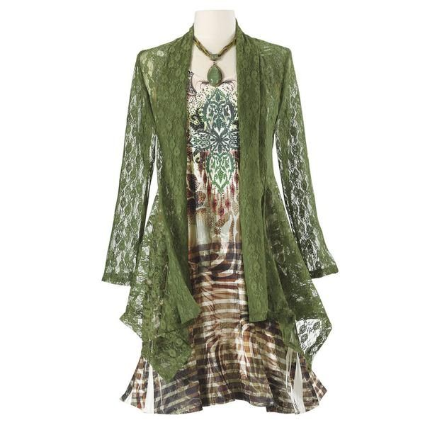 I love this outfit, esp. the lace jacket!  Love deep greens.  The Pyramid Collection has the most gorgeous stuff.