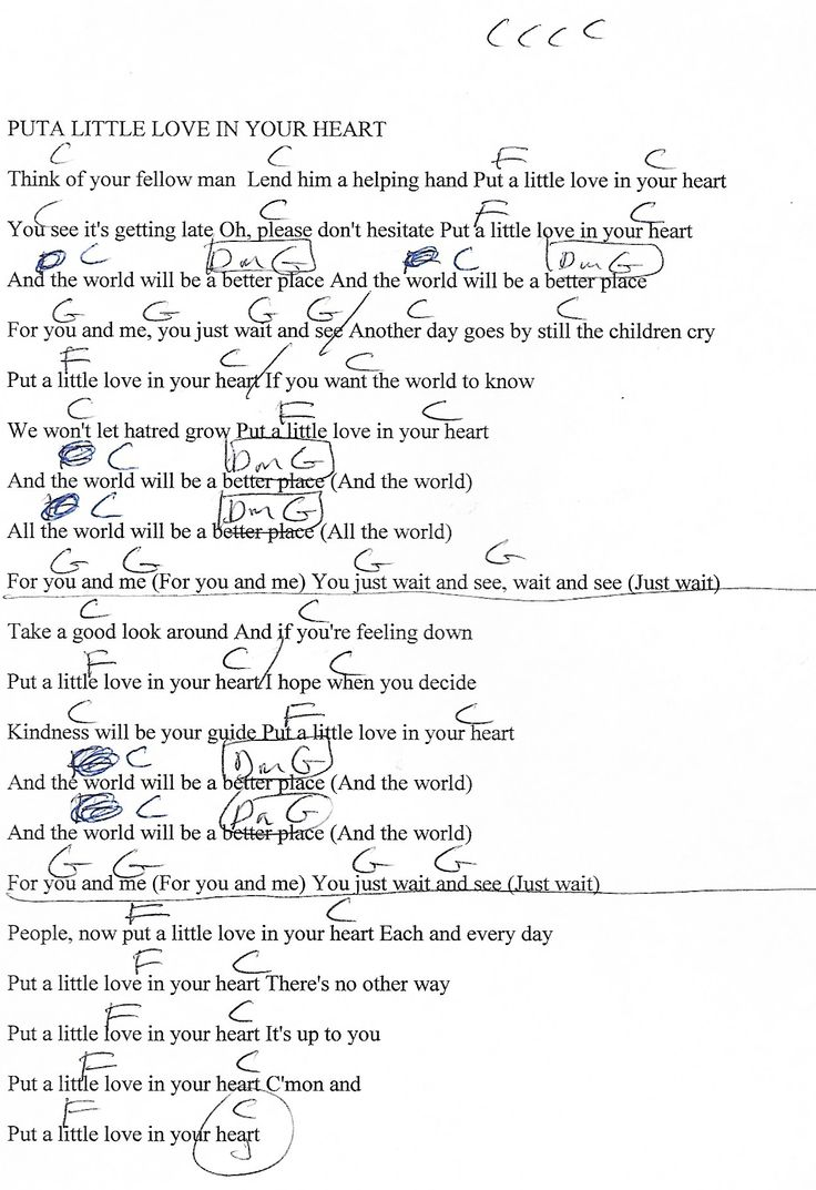 Put A Little Love In Your Heart (Annie Lennox) Guitar Chord Chart with Lyrics - http://www ...