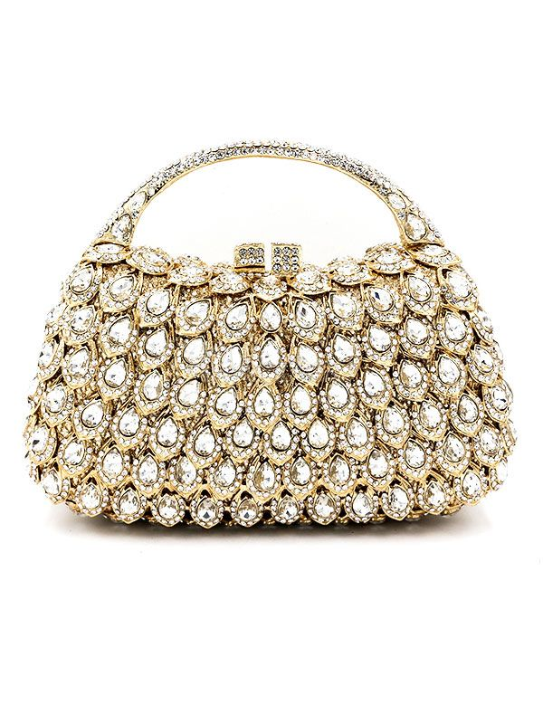 GOLD CLUTCH BAGS WEDDING BRIDAL RHINESTONES BEADED EVENING HANDBAGS