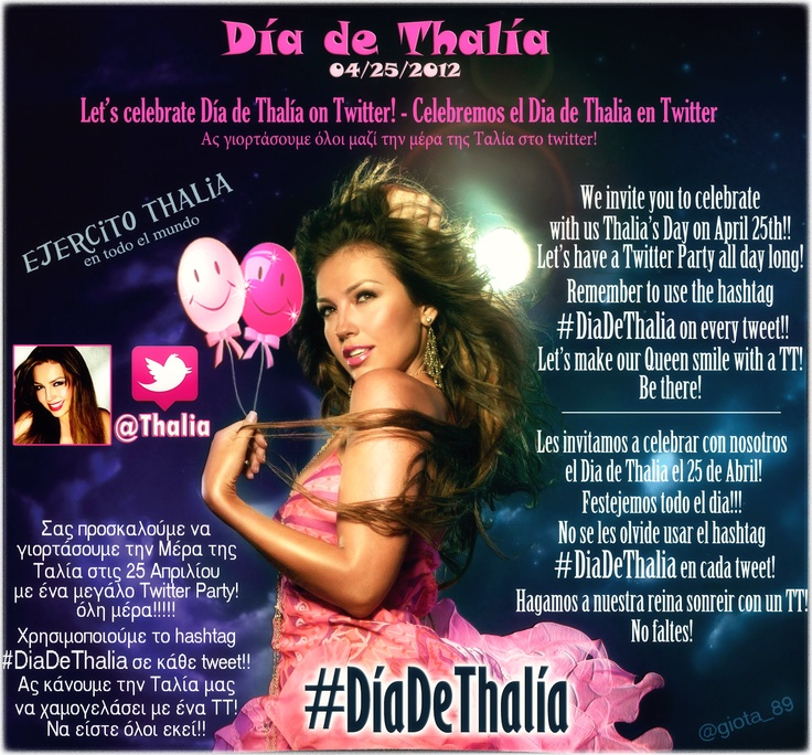 #DiadeThalia on #twitter! @Lady T be there!