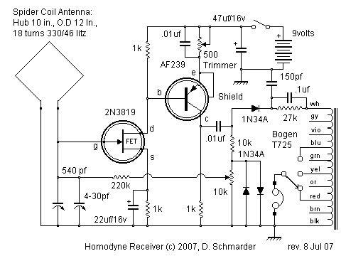 Dave's Homodyne Regen Radio, Schematic Circuit in 2019