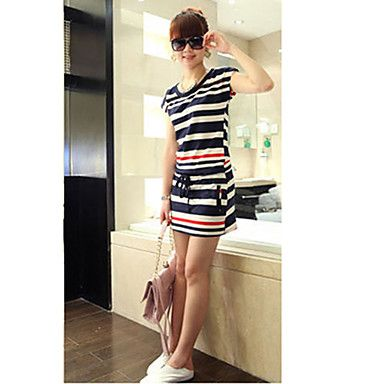 Semplice Stripes causale vestito delle donne – EUR € 7.42