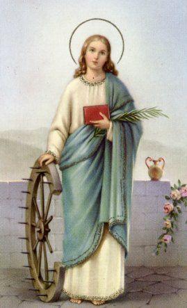 sv. Katarina Aleksandrijska (Egipat), 3-4. st., spominje se od 10.st., prsten (dijete Krist joj nudi prsten) - mistični brak s Kristom, odbila Maksencija; kotač s bodljama otkinut od sprave za mučenje (bila mučena ali čudom spašena, potom ubijena gromom), knjiga, palmina grana (mučeništvo)