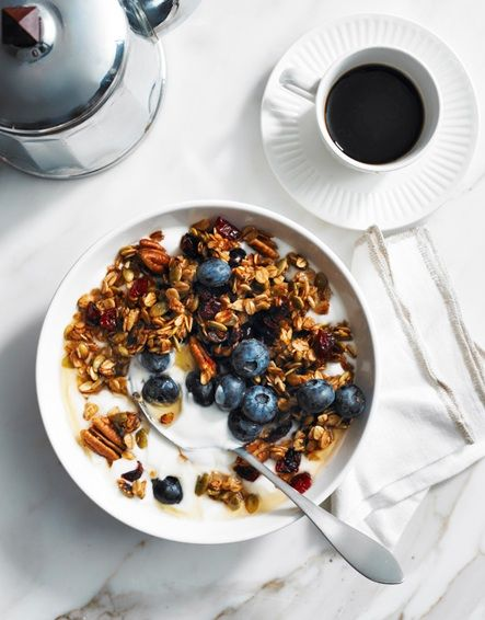 The perfect pair. Granola and a cup of coffee.