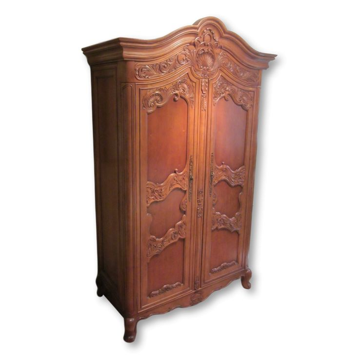 Carved Cherry Armoire And TV Cabinet