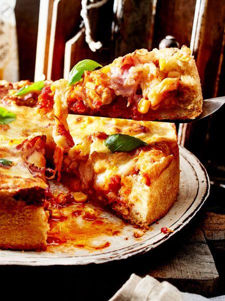 bbq pizza mit h hnchen rezept kochen f r g ste bbq chicken pizzas und chicken. Black Bedroom Furniture Sets. Home Design Ideas