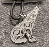 Wolf Necklace by Coast Salish artist Joe Wilson - cloisonne on cord #052z