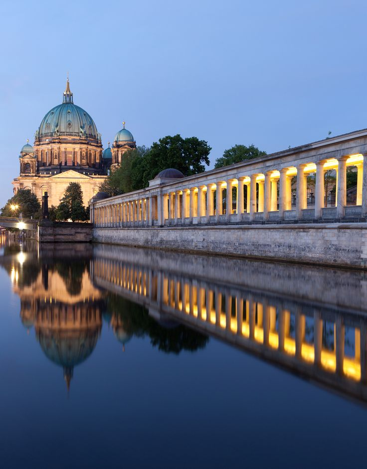 Take an evening stroll along the banks of Berlin's Spree River and catch the light on the illuminated facade of the Berlin Cathedral - a perfect nightcap after a day of exploring the city.