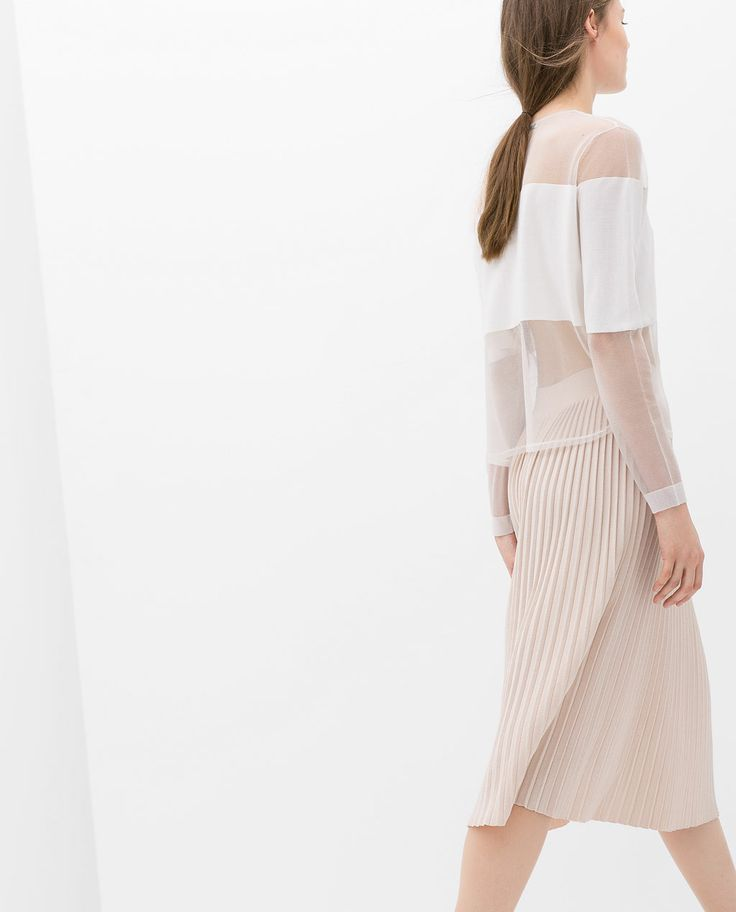 ZARA - WOMAN - COMBINED BLOUSE WITH SHEER DETAILS