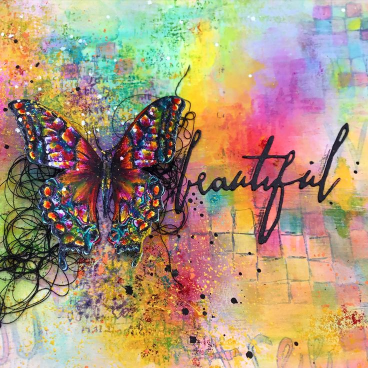Love how the black butterfly and script stand out against the different mixed media background.