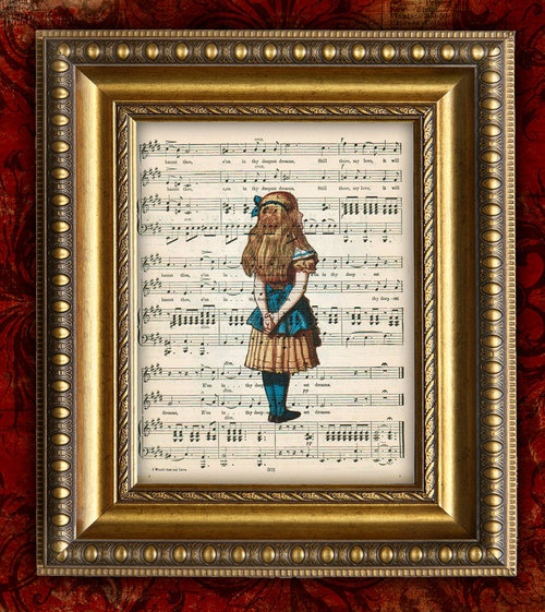 Alice In Wonderland Antique Sheet Music Print Nursery