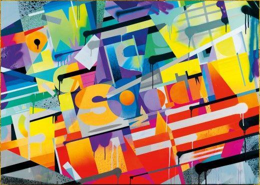 Untitled ROIDS Sin título , 2013 Vinilo acrílico y pintura en aerosol sobre lienzo de fachada de madera