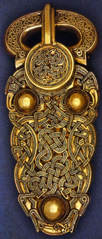 The 7th century gold belt buckle found at Sutton Hoo ship burial, near Woodbridge, in the English county of Suffolk.