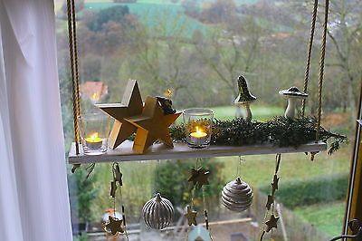 Hängetablett Hängeregal Fensterdeko Kerzenständer Windlichter Advent weiss in Möbel & Wohnen, Dekoration, Kerzenständer & Teelichthalter | eBay!