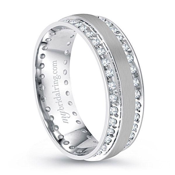 Double Channel Set Diamond Wedding Band In 14k White Gold Mens Diamond Wedding Bands Diamond Wedding Bands Mens Wedding Rings