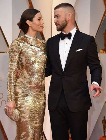 Jessica Biel in a gown by Kaufmanfranco accessorised with Tiffany & Co. jewellery and Justin Timberlake