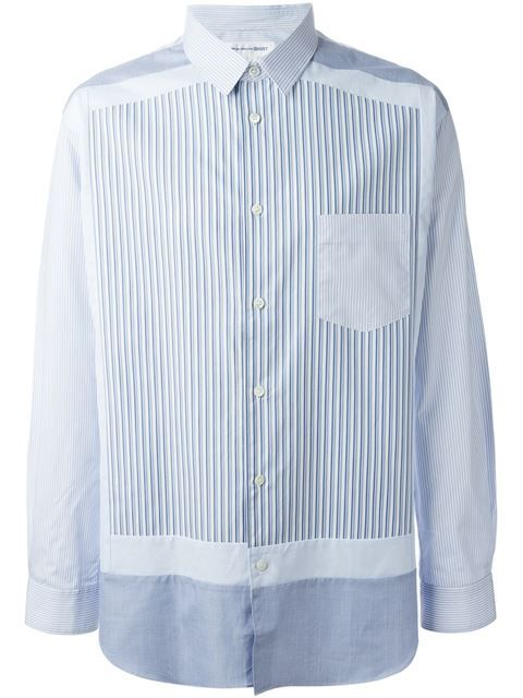 comme des garcons panelled striped shirt