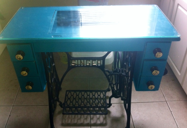 "Fr ""old"" sewing machine table to ""new"" desk! Thanks to Cookie at ""Handpainted by Cookie"" in Moonachie, NJ"