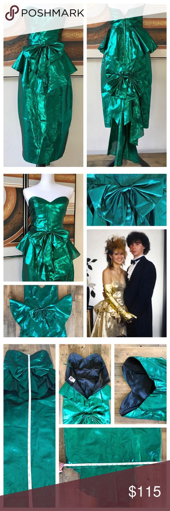 Vintage 80s Metallic Green Mermaid Dress XS STUNNING emerald green 80s mermaid prom dress! Strapless, midi skirt w/peplum & bow accents (front & back) & a train. Brand Eletra (TD4). 70% poly/30% METAL! Best guess: modern 2/XS, but pls check measurements. EUC, OAK, RAD. Like it stepped right out of 16 Candles. Truly a beauty to behold. I've held onto this baby for long enough – now it's time for her to party like it's 1984! Sexy, bustier, retro, flashback, bachelorette, party, cocktail…