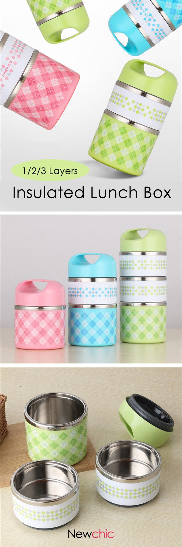 US$9.95--1/2/3 Layers Stainless Steel Thermal Insulated Lunch Box Bento Food Storage Container Lunch Box#newchic#student#stationary