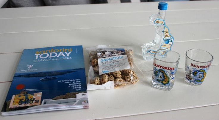 Some items for Santorini welcome pack... guide book, local nuts, ouzo and shot glasses!  Guests will be very happy!