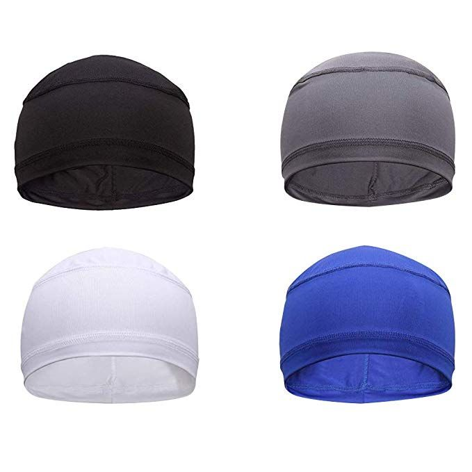 4 Pack Cycling Skull Caps Helmet Liner Cooling Caps Sweat Wicking Cycling Beanie Caps Chemo Caps Dry Fit Sports Running Helmet Liner Skull Cap Helmet Hat Liner