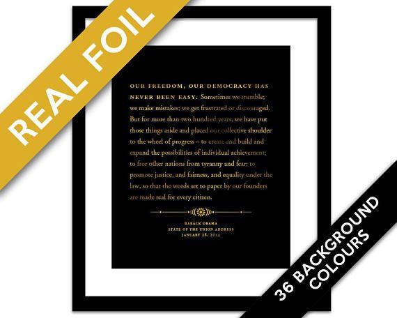 Barack Obama State of the Union Speech Gold Foil Art Print - Presidential Speech - American History Poster - US President - Political Art