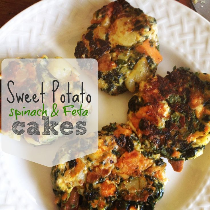 sweet potato, spinach and feta cakes