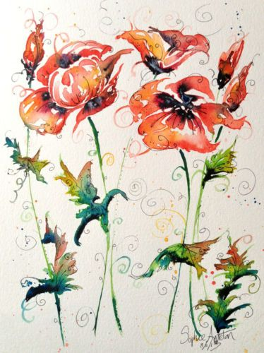 Original Watercolour Painting ' Poppy Harmony ' by Sophie Appleton | eBay