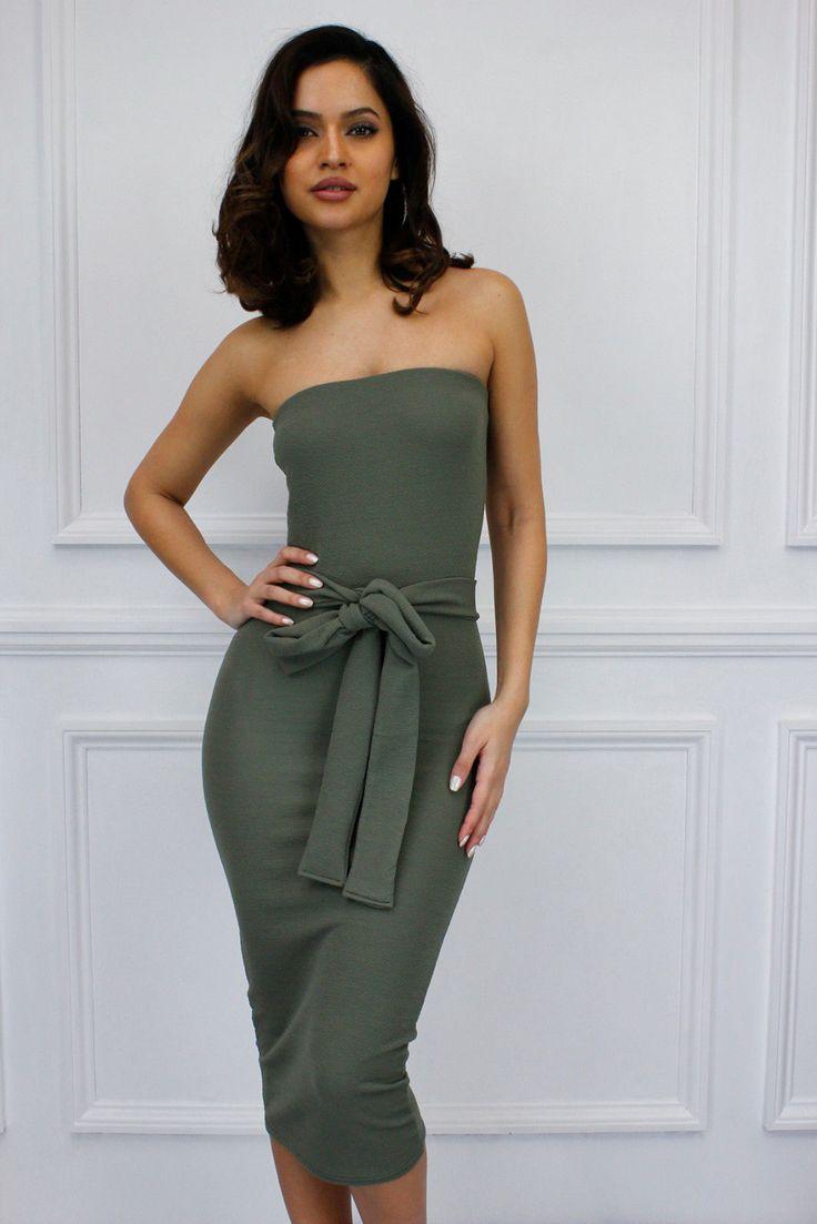 Glamzam Womens Ladies Strapless Waist Tie Bow Midi Stretch Belt Khaki Dress