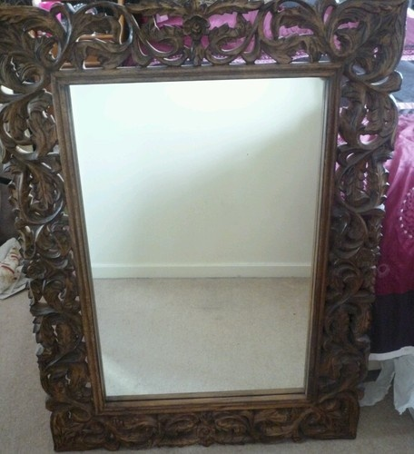 Very Large and Heavy Ornately Carved Wooden Mirror | eBay