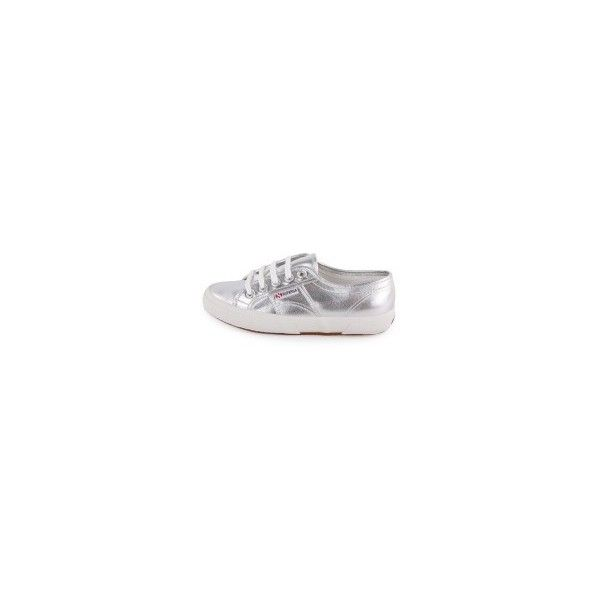 Superga 2750 Metallic Womens Trainers in Silver ❤ liked on Polyvore featuring shoes, sneakers, metallic sneakers, metallic shoes, silver shoes, superga and superga shoes