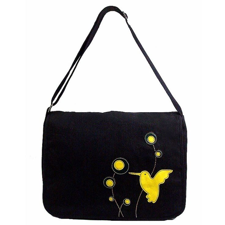 Bird & Budded Flowers Black Canvas Bag