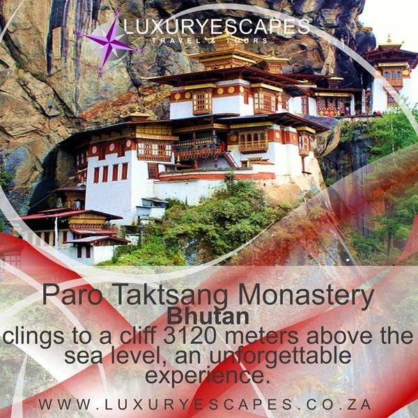 Paro Taktsang Monastery is a Buddhist temple that clings to a cliff 3120 meters above the sea level on the side of the upper Paro valley, Bhutan. It is the cultural icon of Bhutan and visiting it is an unforgettable experience. What are you waiting for? www.luxuryescapes.co.za