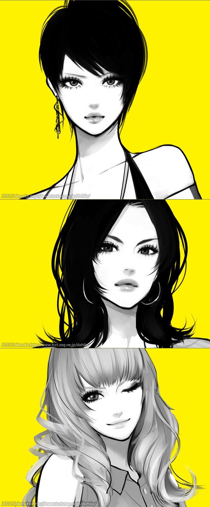 Girls illustration, drawing / Ragazze, illustrazione, disegno - by Dahlia…