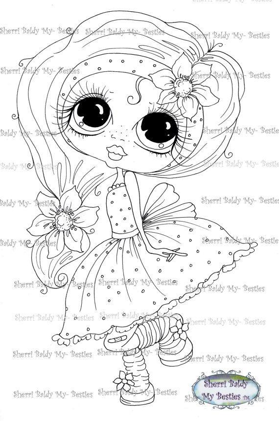 SOFORT-DOWNLOAD digitale Digi Briefmarken großes Auge großer Kopf Puppen Digi Scan0001 2 kleine QT Friends von Sherri Baldy