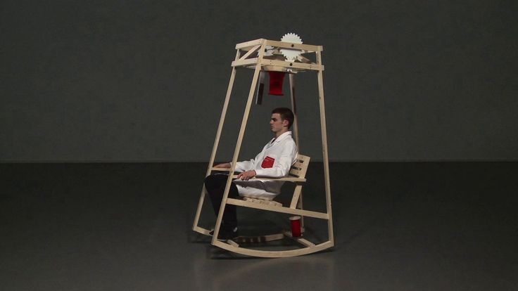 An Ingenious Rocking Chair That Uses Its Own Kinetic Motion to Effortlessly Knit a Hat