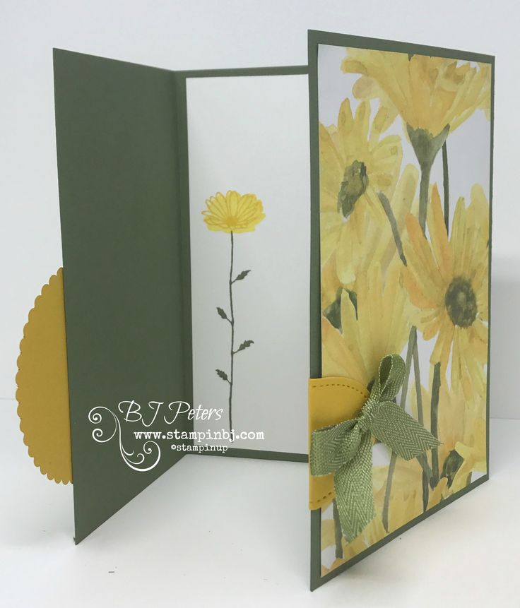 Simple but stunning Tri-fold card using Daisy Delight and Just Add Text stamp sets.  Video on my blog.  #stampinbj.com