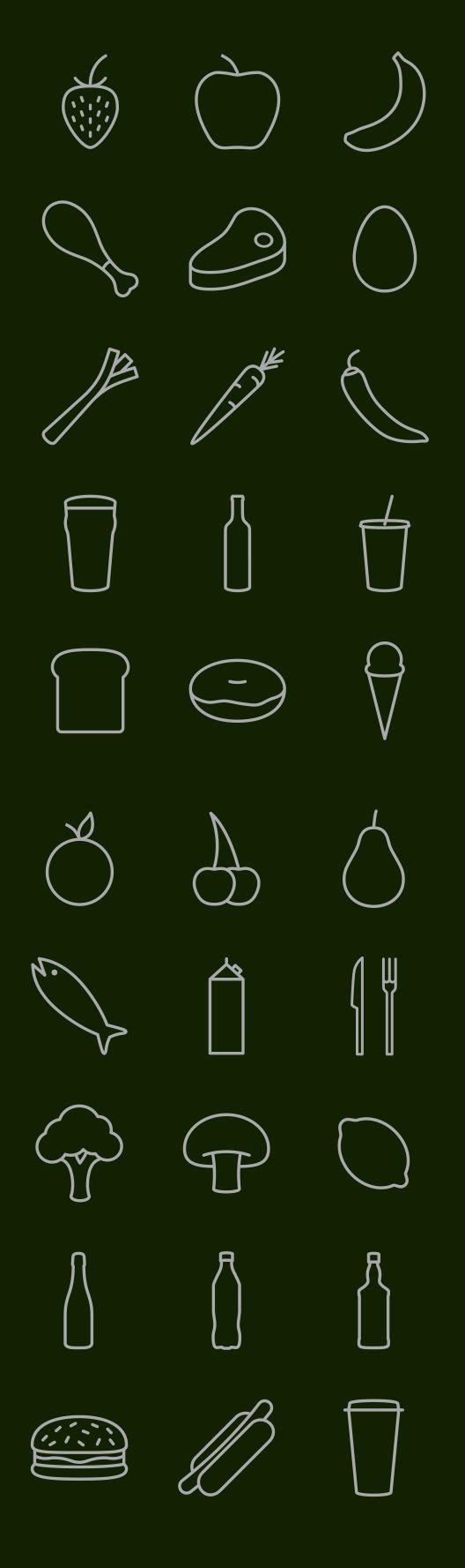 음식 과일 음료 아이콘.AI