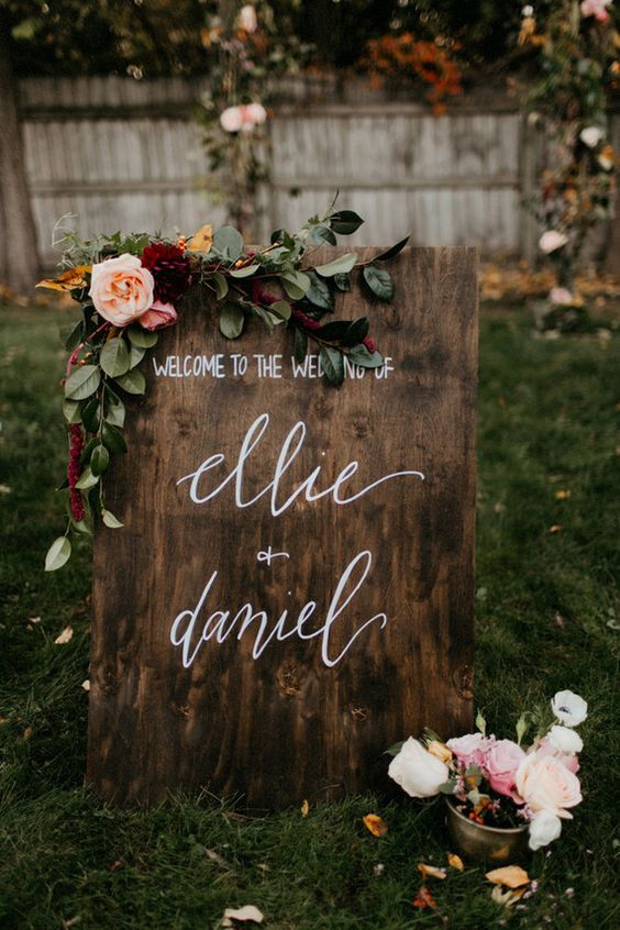 moody fall wedding sign - Deer Pearl Flowers / http://www.deerpearlflowers.com/wedding-ceremony-decor/moody-fall-wedding-sign/